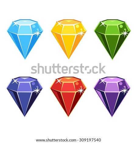 Set of cartoon gemstones in different colors - stock vector