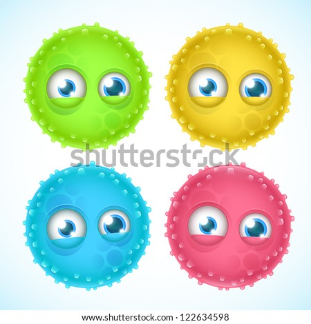 set of cartoon germs - stock vector