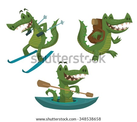 Set of cartoon green funny crocodiles doing activity. One is skying. Another is hiking. Third kayaking in small boat. vector illustration. - stock vector