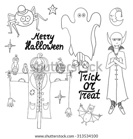 Set of cartoon halloween characters and words isolated on white background. Merry halloween. Trick or treat. Vector illustration. Eps 10.