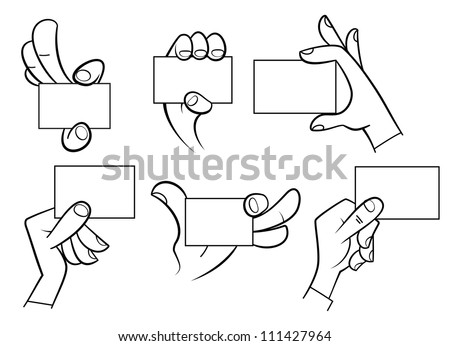 Set of cartoon hands holding a card isolated on white