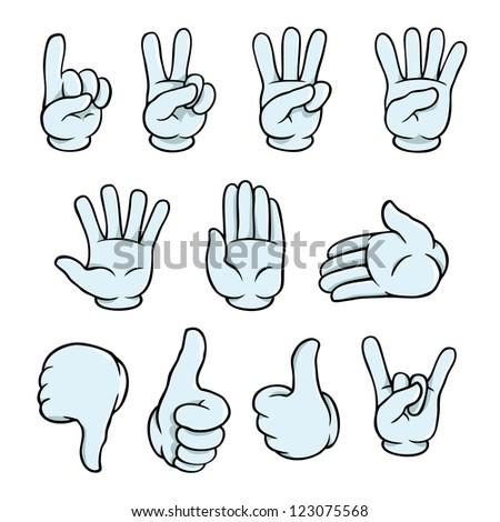 Set of cartoon hands showing various gestures. - stock vector