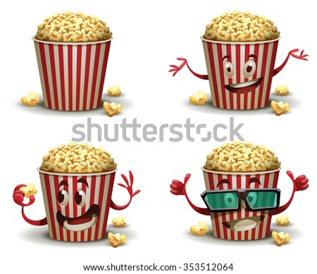 Set of cartoon happy popcorn basket with different emotions. One popcorn basket wears 3d glasses. vector illustrations - stock vector
