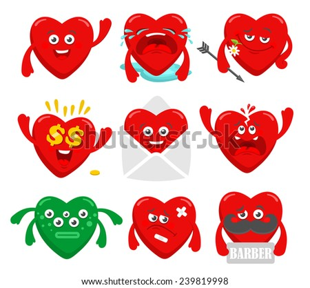 Set of cartoon heart characters. Cute vector collection in romantic style. - stock vector