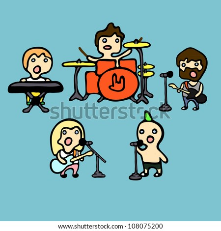 Set of cartoon icons on rock band theme, vector illustration - stock vector