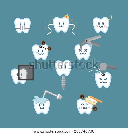 Set of cartoon illustrating dental procedures, hygiene and health. - stock vector