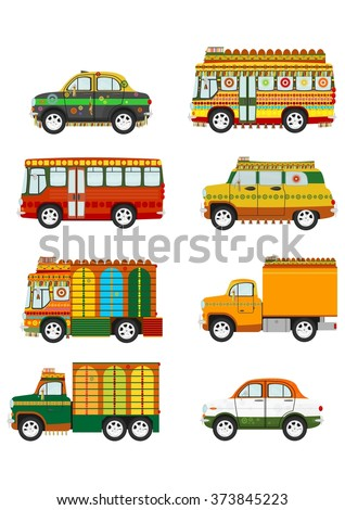 Set of cartoon Indian jingle cars on the white background. Vector illustration.