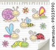 set of cartoon insects with snail and flowers - stock vector
