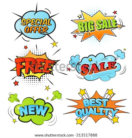 Set of cartoon labels on a white background