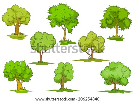 Set of cartoon leafy green trees on grass, design elements isolated on white - stock vector