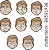 Set of cartoon male's faces with emotional expressions - stock vector