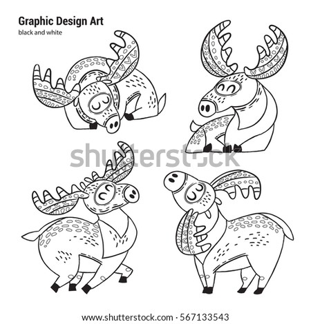 Set Cartoon Moose Coloring Pages Art Stock Vector 567133543