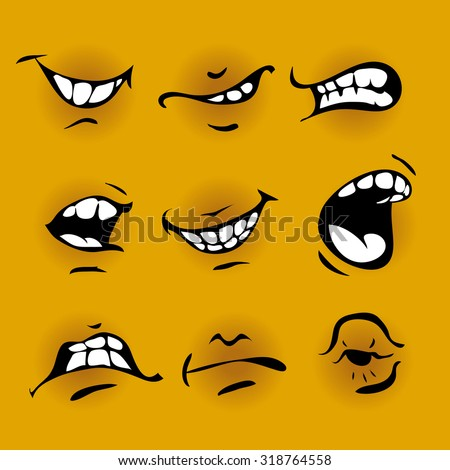 Set of cartoon mouth on yellow background - stock vector
