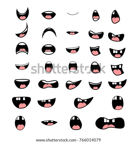 set cartoon mouth poses animation vector stock vector 766014079 rh shutterstock com cartoon mouth drawing cartoon mouth nose