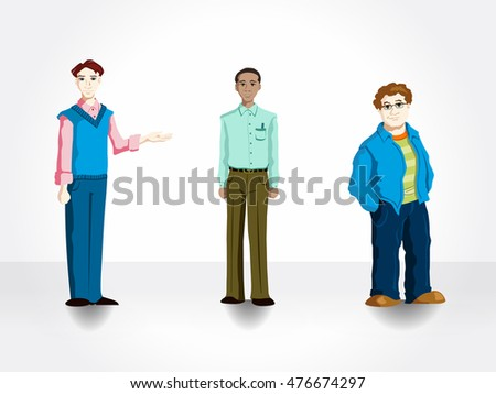 Set of 3 cartoon office workers for use in presentations, elearning courses, and more. Men at office.