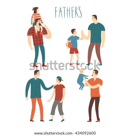 Set of cartoon people.Fathers with kids. Including  teenagers, babies, adults. Characters illustrations about love and support n family for your design. - stock vector