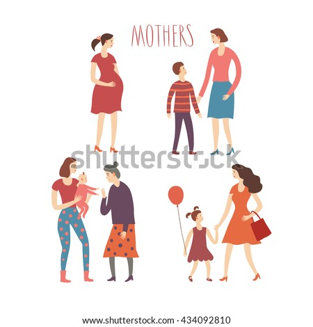 Set of cartoon people.Mothers with kids. Including  teenagers, babies, adults. Characters illustrations about love and support n family for your design. - stock vector