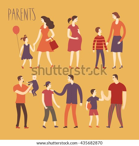 Set of cartoon people.Parents with kids. Including man, woman, teenagers, babies, adults. Characters illustrations about love and support n family for your design. - stock vector