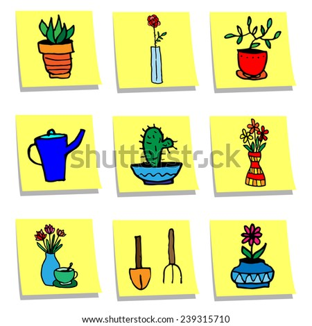 Set of cartoon potted flowers, garden furniture on sticker notes - stock vector