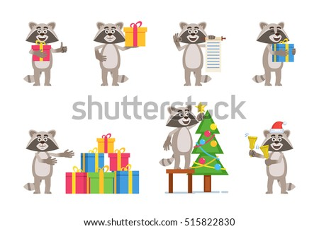 Set of cartoon raccoon characters posing in different situations. Cheerful raccoon holding gift box, present, scroll, jingle bells, decorating Christmas tree. Flat vector illustration