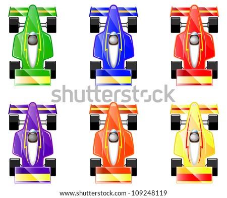 Set Cartoon Racing Carsvector Illustration Stock Vector