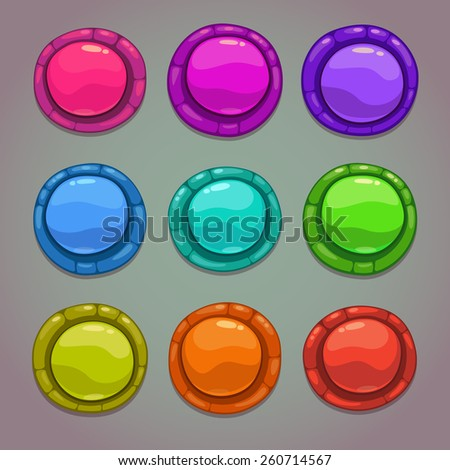 Set of cartoon round colorful vector buttons on gray background