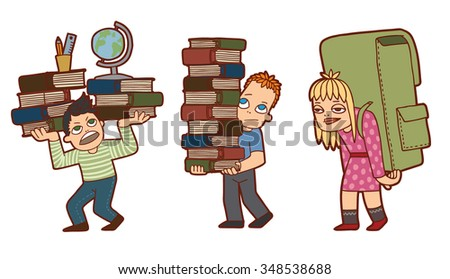 Set of cartoon school pupils who don't like school and education. Two boys and girl with many heavy books look unhappy and sad. vector illustration - stock vector