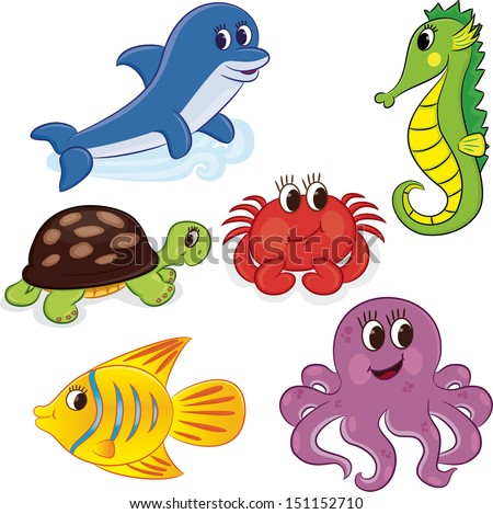 Set of cartoon sea animals. Vector illustration - stock vector