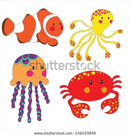 Set of cartoon sea creatures isolated on white. Vector illustration. - stock vector