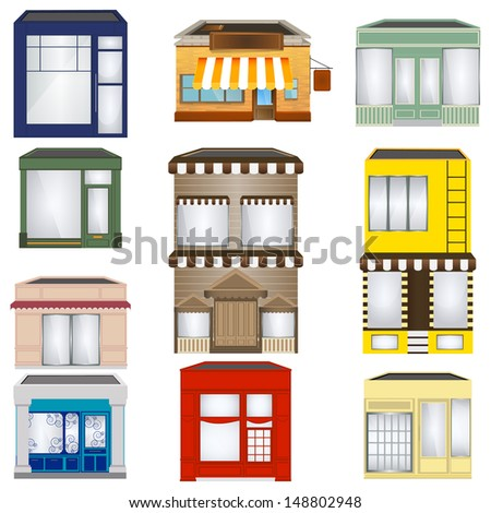 Set of Cartoon Shops - stock vector