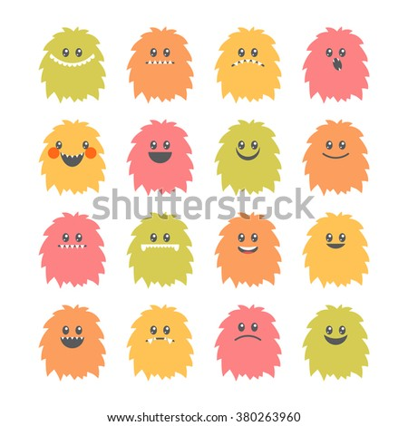 Set of cartoon smiley monsters. Collection of different cute and funny fluffy monsters characters. Vector illustration - stock vector
