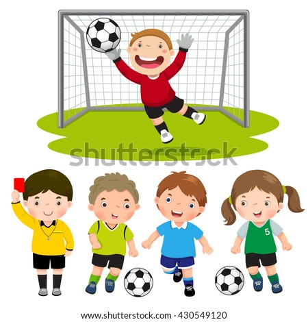 Set of cartoon soccer kids with different pose - stock vector