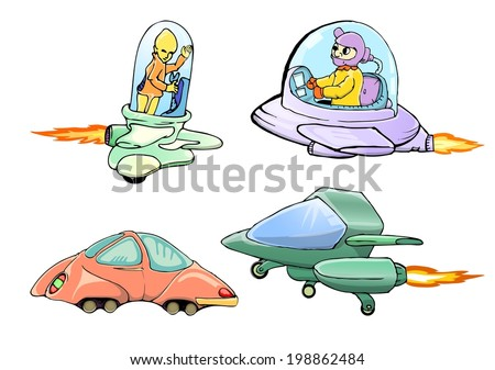 set of cartoon spaceship - stock vector