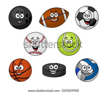 Set of cartoon sports equipment with a bowling ball, rugby or football, soccer ball, cricket ball, tennis ball, basketball, volleyball and hockey puck with smiling faces, vector illustration on white - stock vector