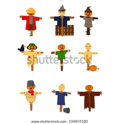 Set of cartoon style scarecrows isolated