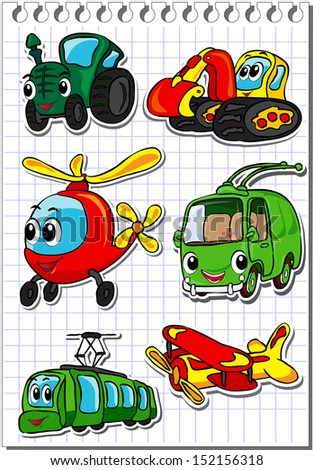 Set of cartoon transport - tractor, trolleybus, helicopter, tram, airplane and excavator. Vector illustration - stock vector