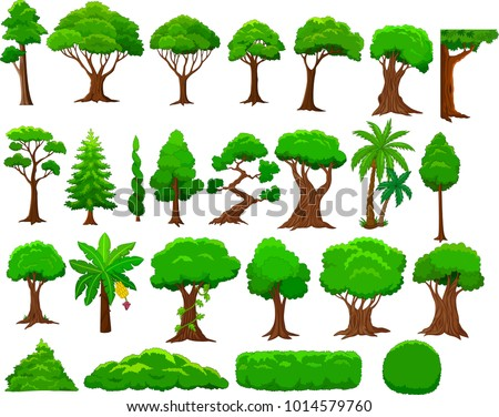 set cartoon trees bushes stock photo photo vector illustration rh shutterstock com cartoon trees pictures cartoon trees rocks and bushes - low poly vegetation pack