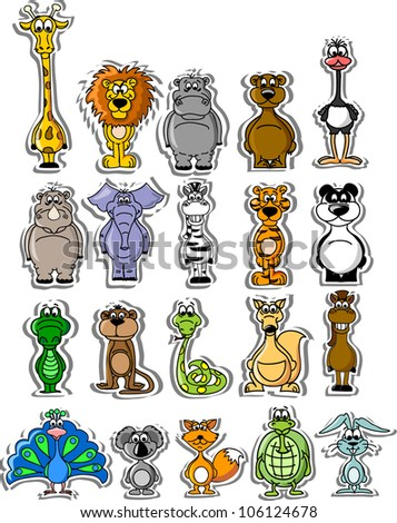 Set of cartoon vector animals - stock vector