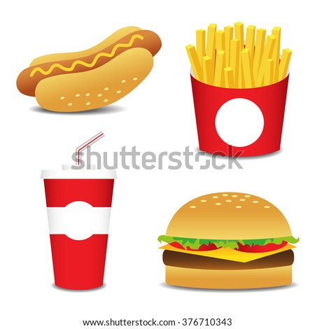 Set of cartoon vector food icons isolated