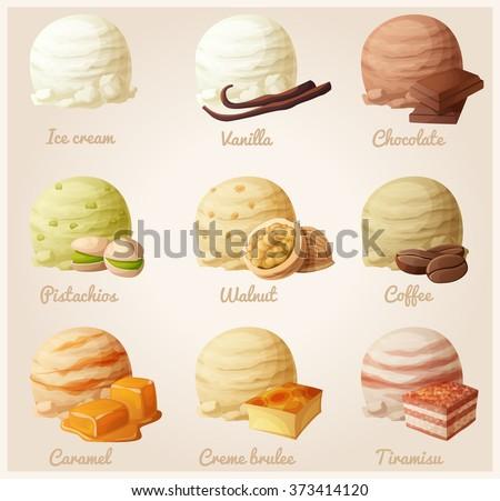 Set of cartoon vector icons. Ice cream scoops with different fruit flavors. Vanilla, chocolate, pistachio, walnut, coffee, caramel, creme brulee, tiramisu - stock vector
