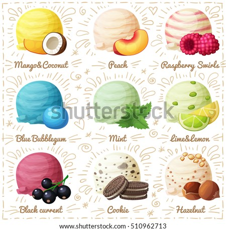 Set of cartoon vector icons isolated on white background. Ice cream scoops with different fruit and berry flavors. Coconut ice cream, Peach, Raspberry Swirls, Blue Bubblegum, Mint and others. Part 5