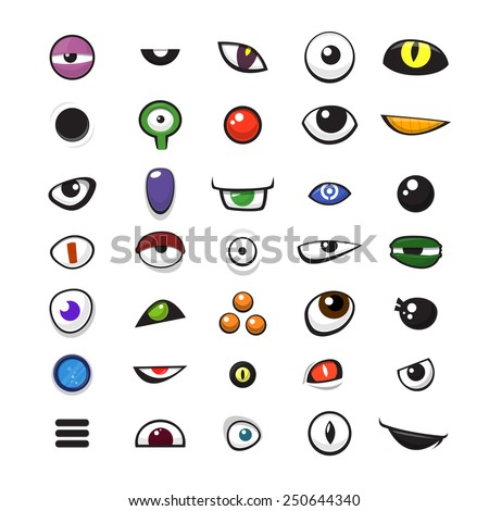 Set of cartoon vector monster eyes over white background - vector illustration - stock vector