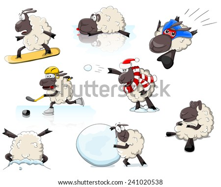 Set of cartoon vector sheeps in different positions and games - stock vector
