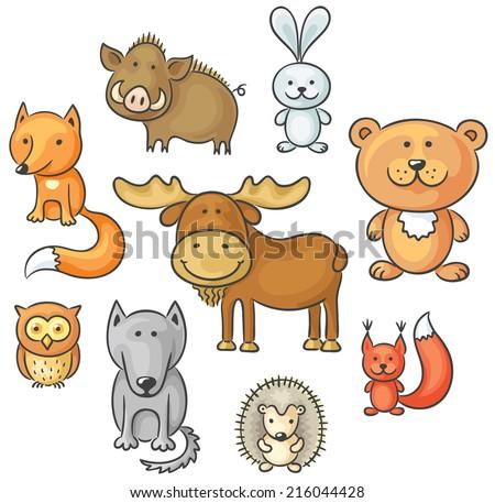 Set of cartoon wild forest animals - stock vector