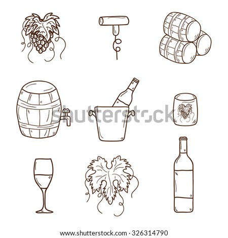 Set of cartoon wine icons in hand drawn style: bottle, glass, barrel, grapes, corkscrew. Vineyard or restaurnt concept for your design - stock vector