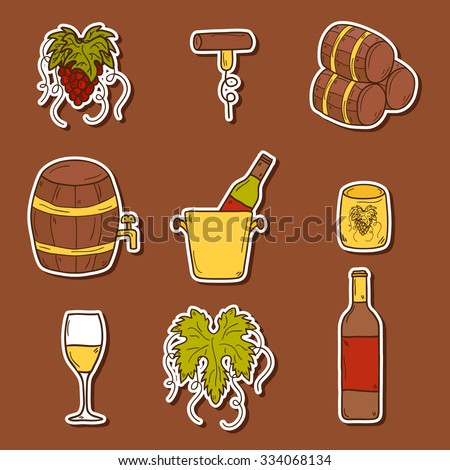 Set of cartoon wine stickers in hand drawn style: bottle, glass, barrel, grapes, corkscrew. Vineyard or restaurnt concept for your design - stock vector