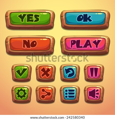 Set of cartoon wooden buttons, vector gui elements - stock vector