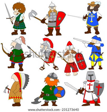 Set of 10 cartoon world warriors with their traditional ammunition. Viking, highlander, musketeer, Roman legionary, crusader, American Indian, gaul, Mongolian archer, slavic knight  Swedish Carolean. - stock vector