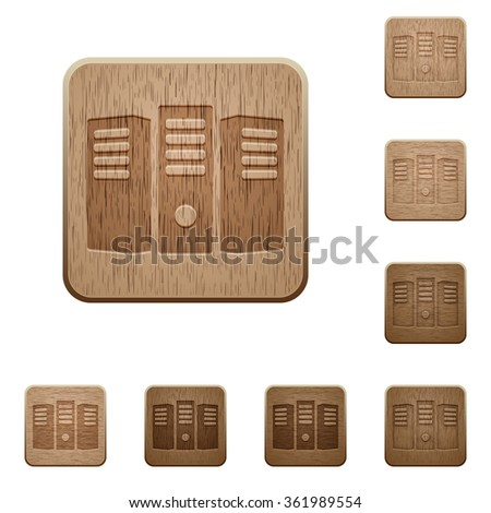 Set of carved wooden Server hosting buttons in 8 variations. - stock vector
