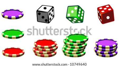 Set of casino chips and dices
